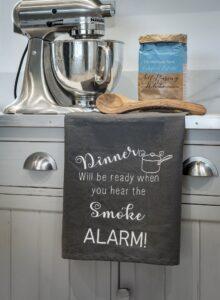 Retreat Grey Smoke Alarm Tea Towel