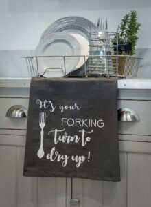 Retreat Grey Forking Tea Towel
