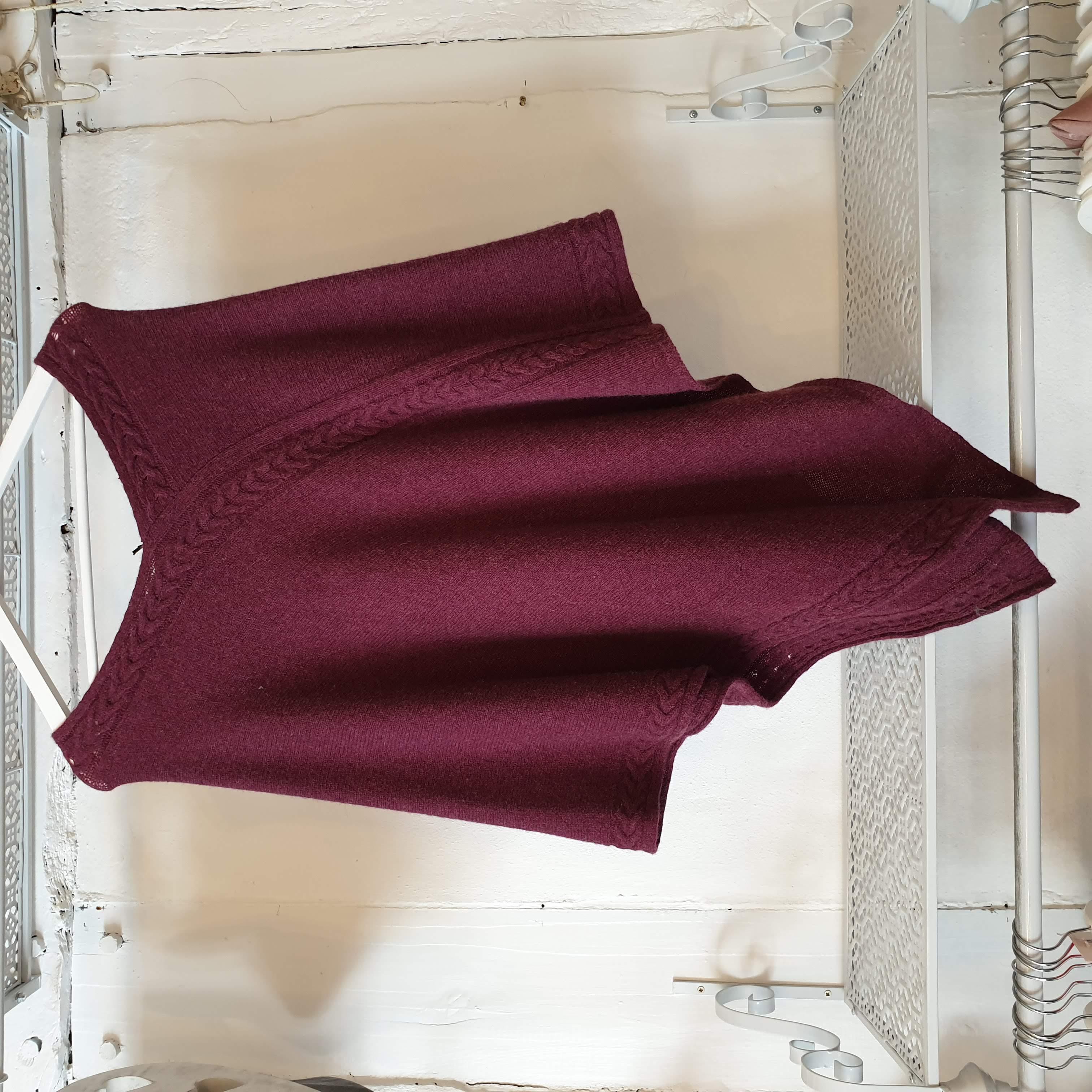 Cadenza Eco Aran Knit Damson Poncho
