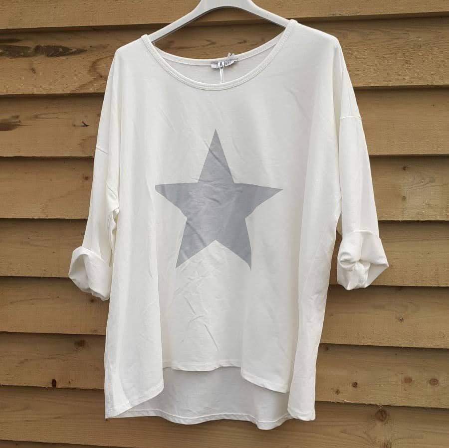 Studio White Star 3/4 Sleeve Top
