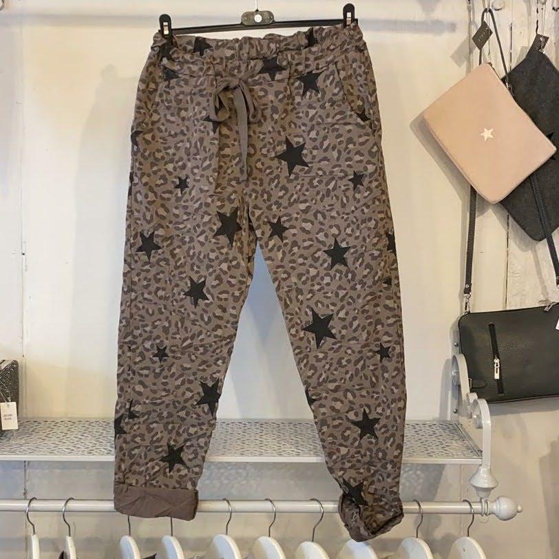 Studio Brown Animal Print Star Trousers