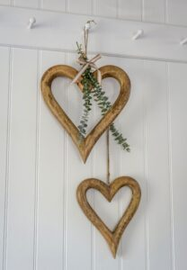 Retreat Natural Wood Outline Hearts