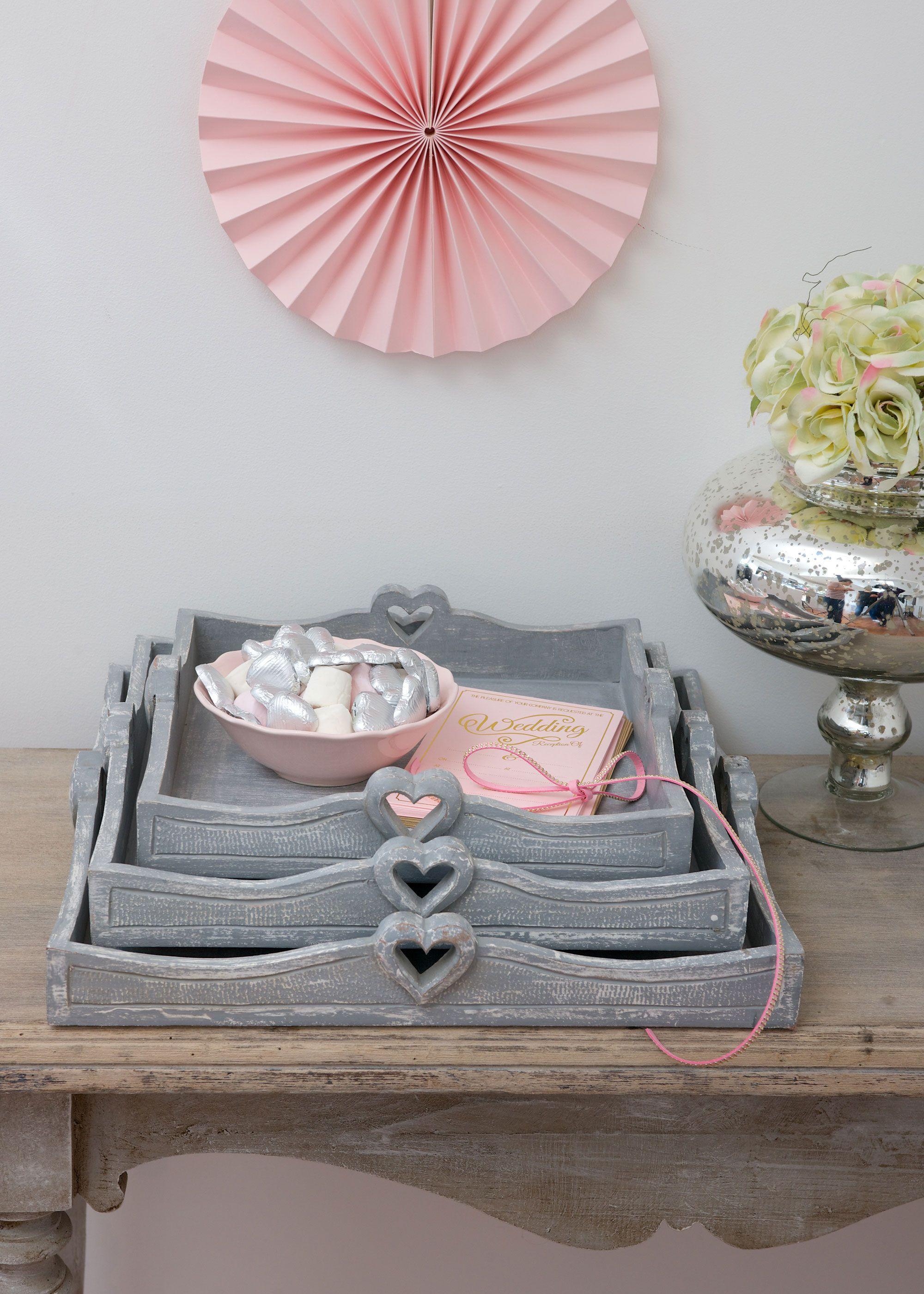 Retreat Heart Handle Grey Trays