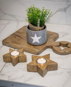 Retreat Natural Wood Star Tealight Holders