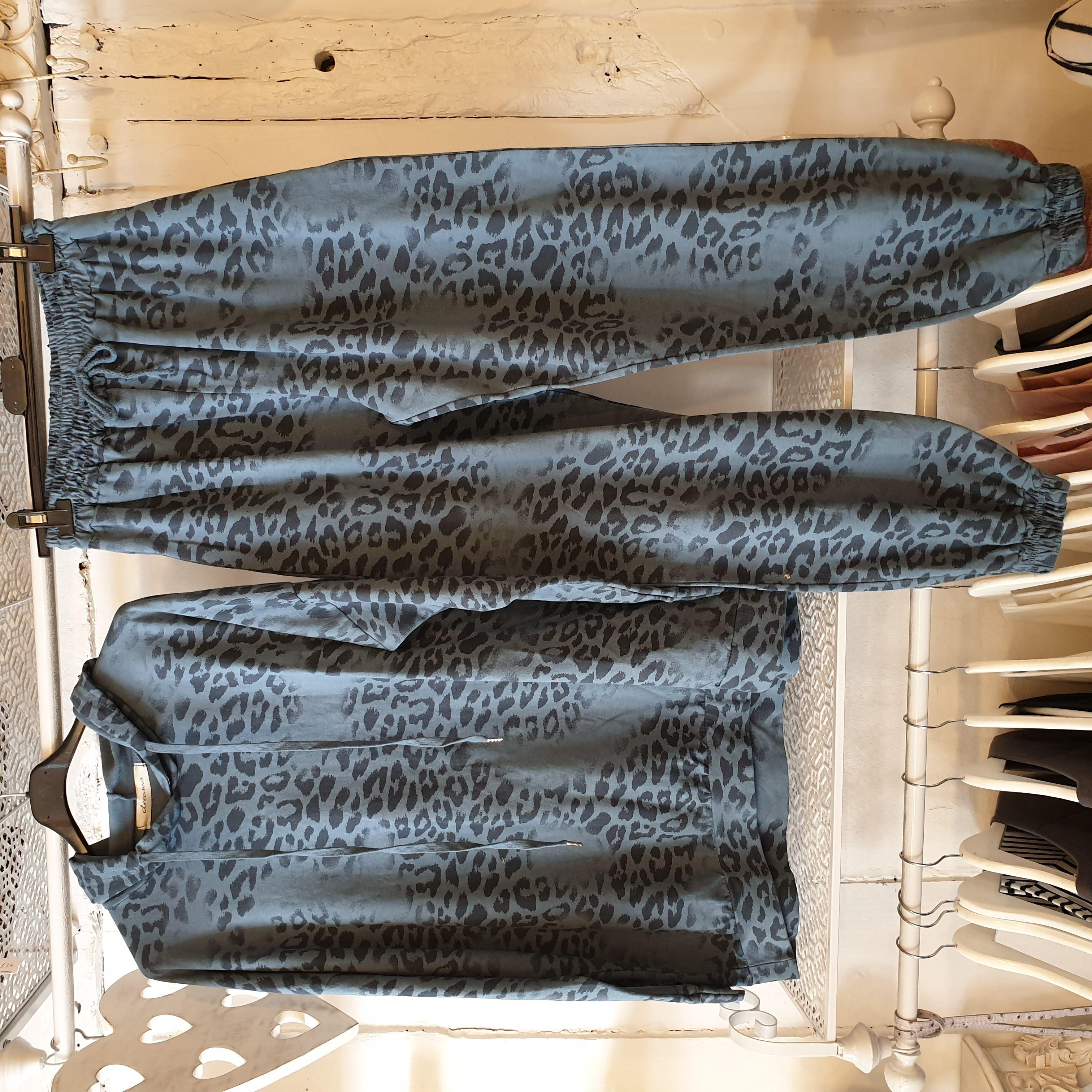 Dreams Blue Leopard Print Tracksuit Set