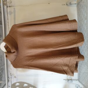 Dreams Roll Neck Cable Detail Camel Poncho