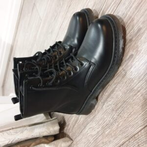 Black Military Style Lace Up Boots