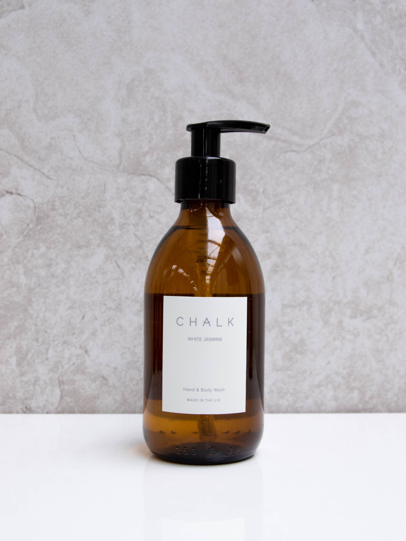 Chalk 250ml Amber Glass Hand and Body Wash | White Jasmine