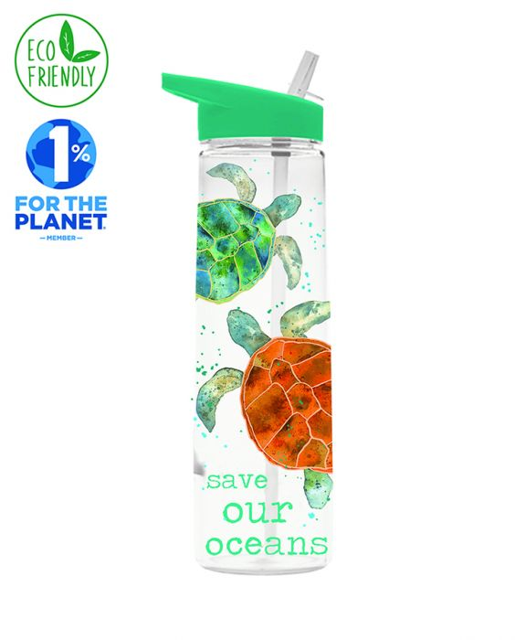 Milly Green Eco Turtle Clear Water Bottle