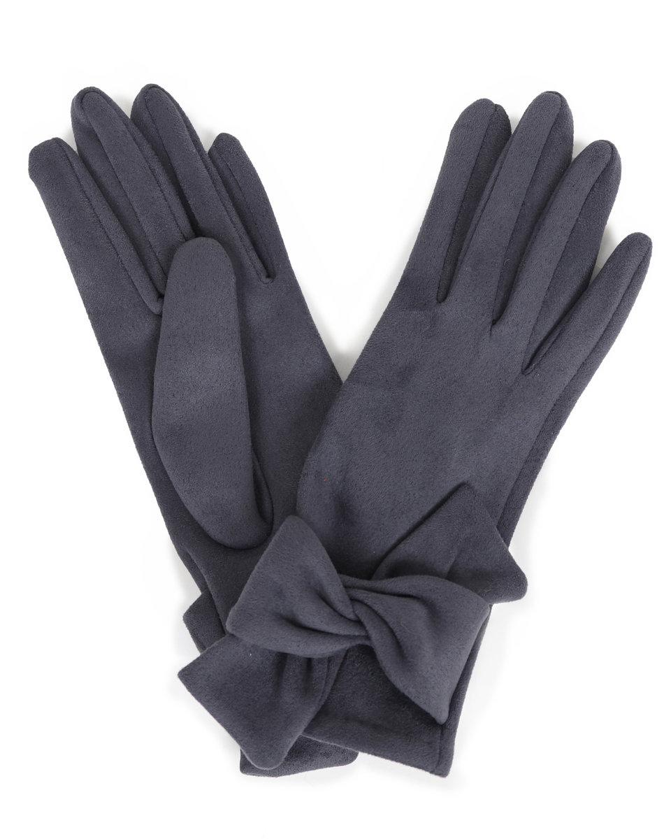 Powder Henrietta Charcoal Faux Suede Gloves