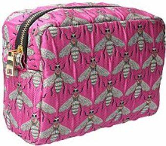 Gisela Graham Pink Bee Cosmetic Bag