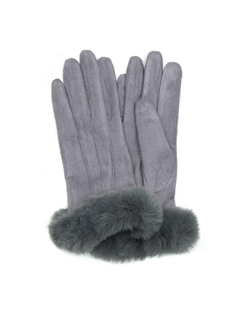 POM Microfibre Gloves with Faux Fur Trim