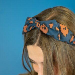 POM Navy/Ochre Leopard Print Bow Headband