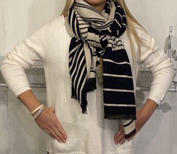 Tutti Black and Cream striped scarf