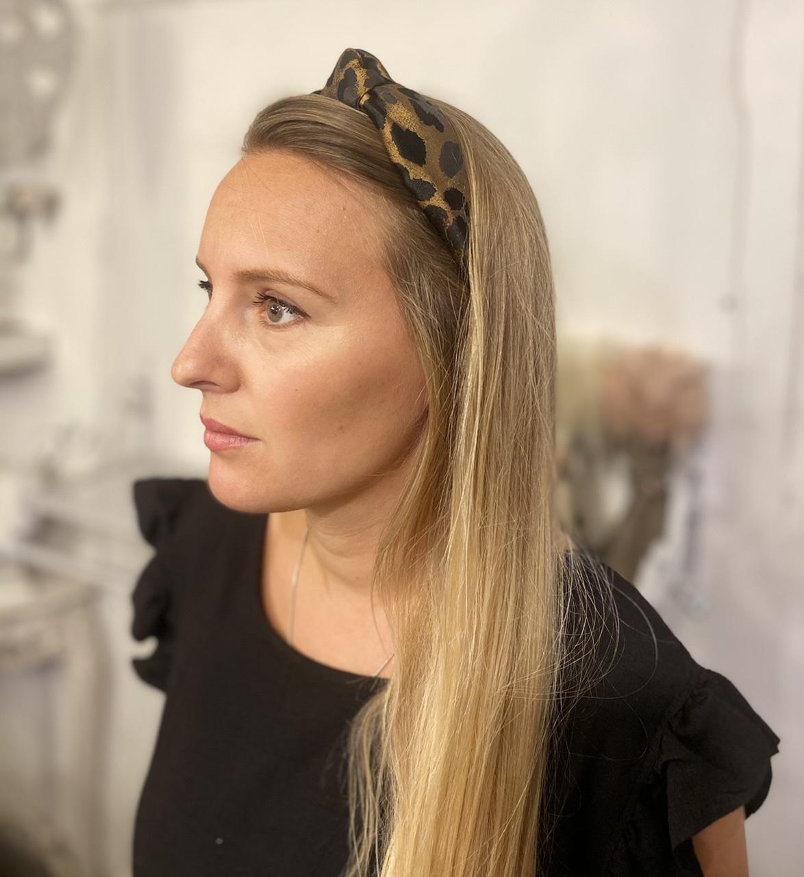 Gisela Graham Gold Leopard Print Headband