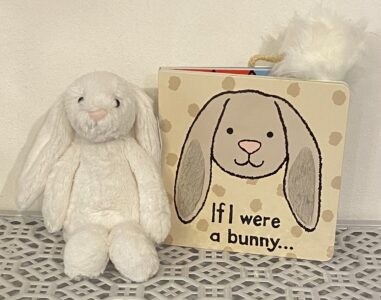 Jellycat Small Cream Bunny and If I were a bunny hardback book