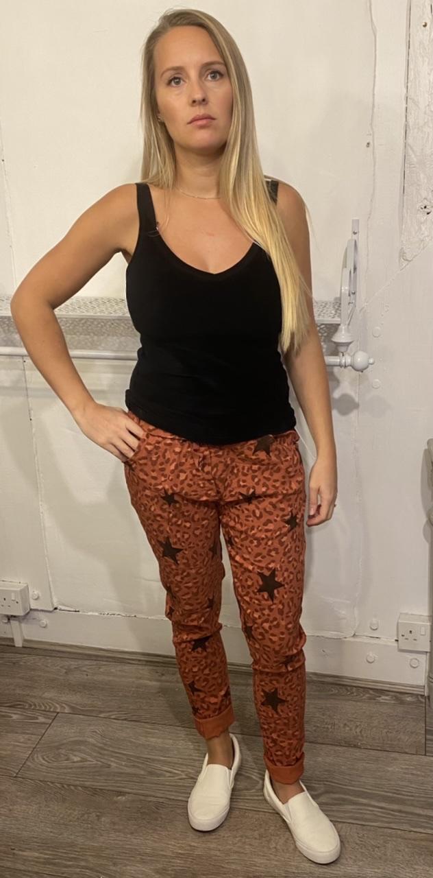 Blanco Brick Red Animal Print Star Trousers