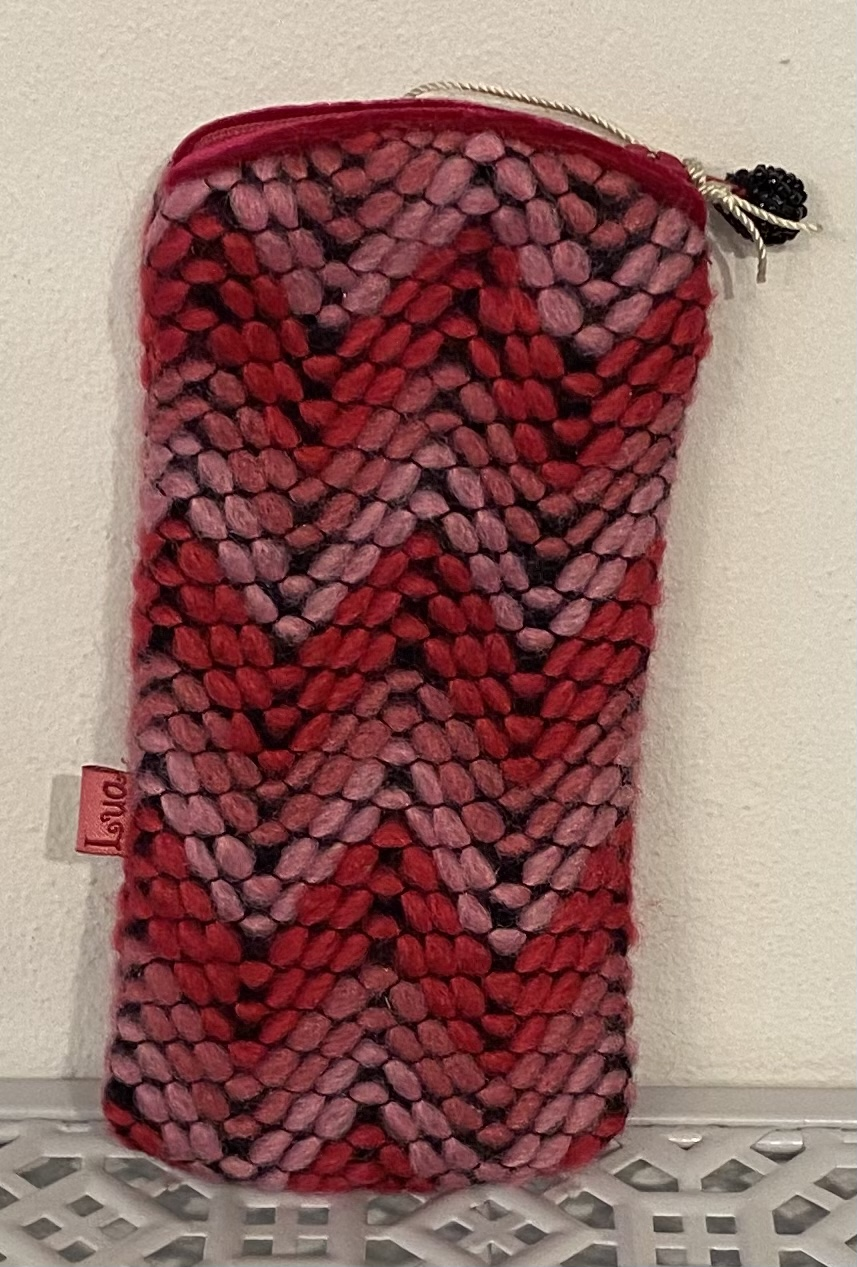 Lua Pink and Red Wool Glasses Case