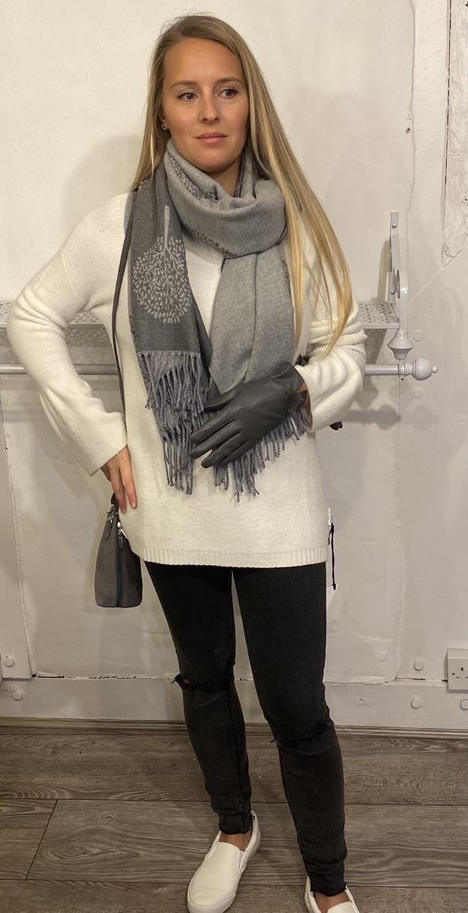 Jayley Grey Leather Gloves with Fur Pom Pom