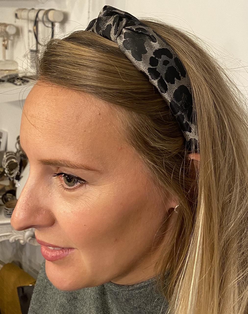 Gisela Graham Silver Leopard Print Headband