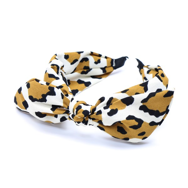 POM Tan/Cream Leopard Print Bow Headband