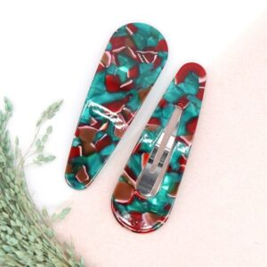 POM Acrylic Double Snap Hair Slides Green Mix Pack of 2