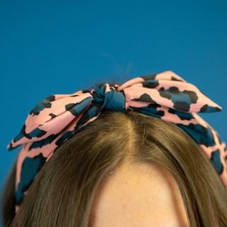 POM Pink/Blue Leopard Print Bow Headband