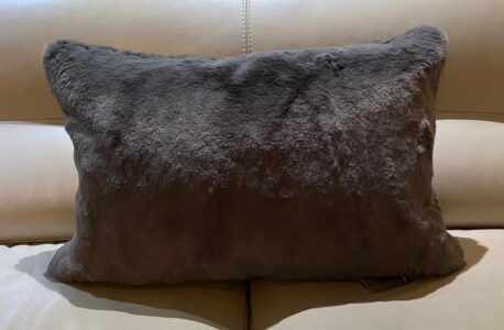 Chalk faux fur cushion- charcoal grey 60x40