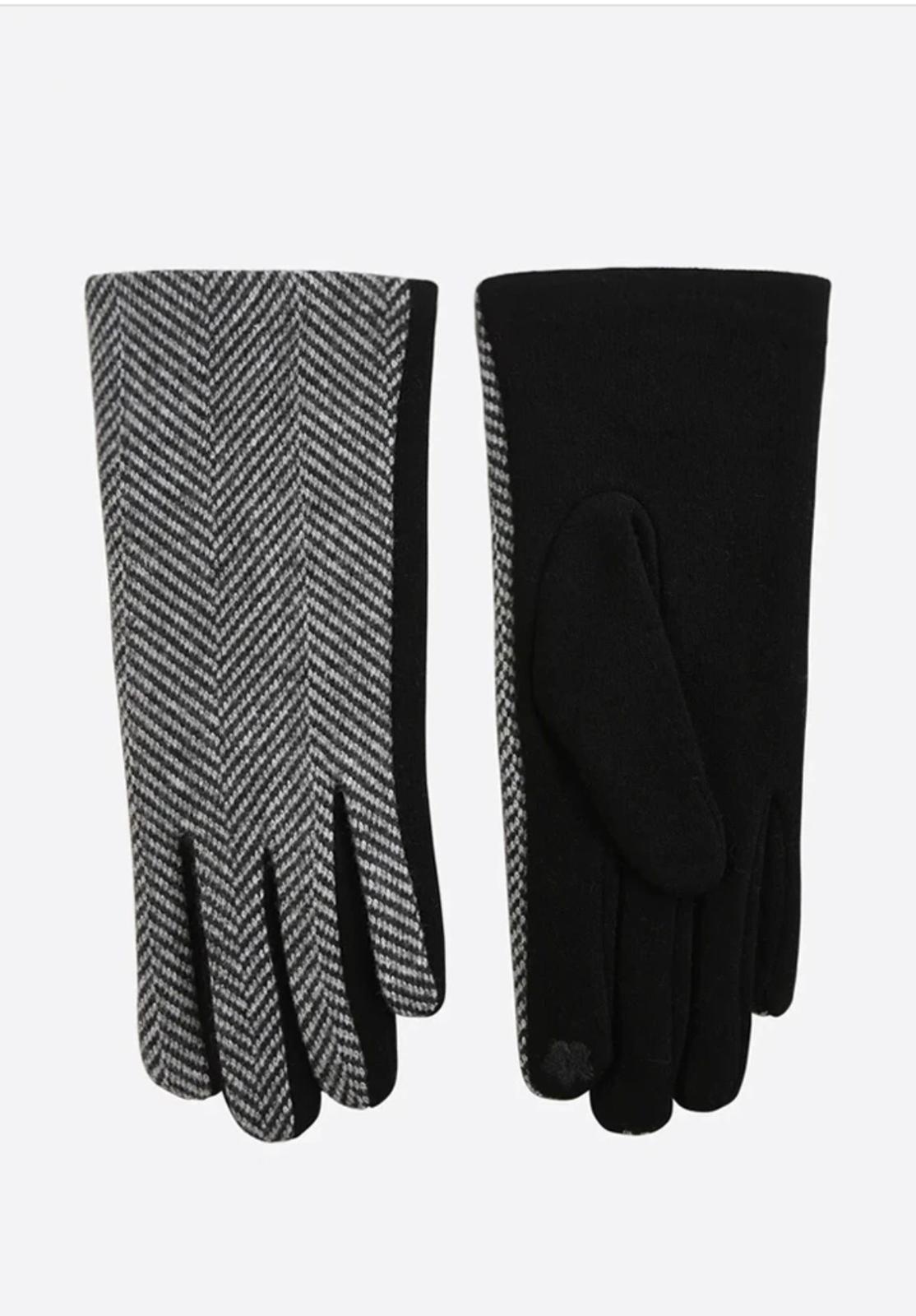 Miss Short Hair Black Two Tone Herringbone Gloves