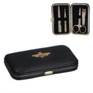 Gisela Graham Black & Gold Bee Manicure Set