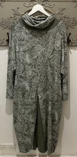 Green Leaf Print Long Dress