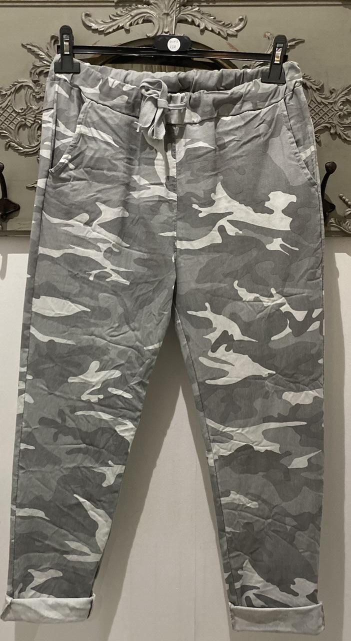Grey Camo Print Trousers