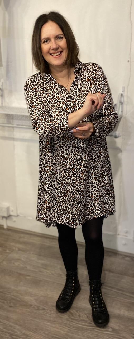 Sarta Animal Print Shirt Dress