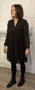 Sarta Black Dress with Gold Star Detail