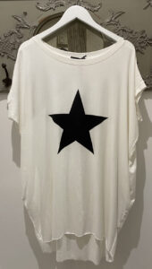 Diverse White with Black Star Long Length T Shirt