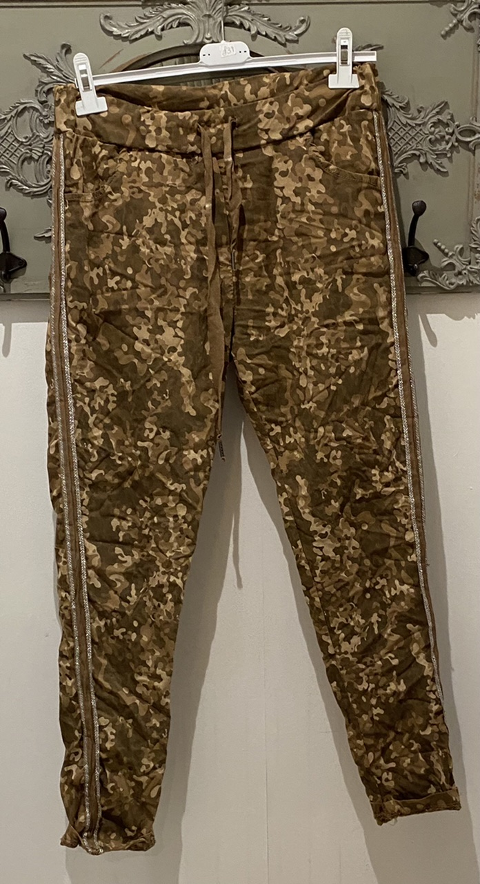 Diverse Tan Animal Print Trousers with side glitter stripe