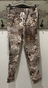 White/Brown Animal Print Trousers with Glitter Stripe