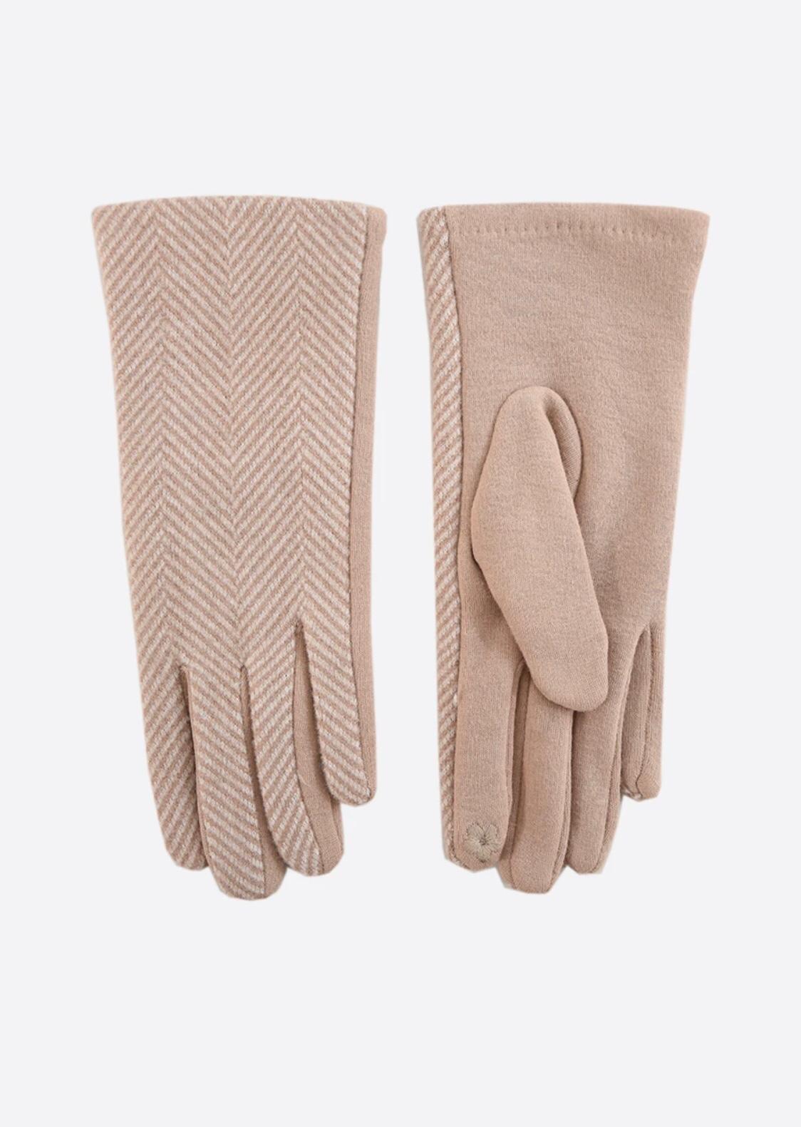 Miss Short Hair Camel Two Tone Herringbone Gloves