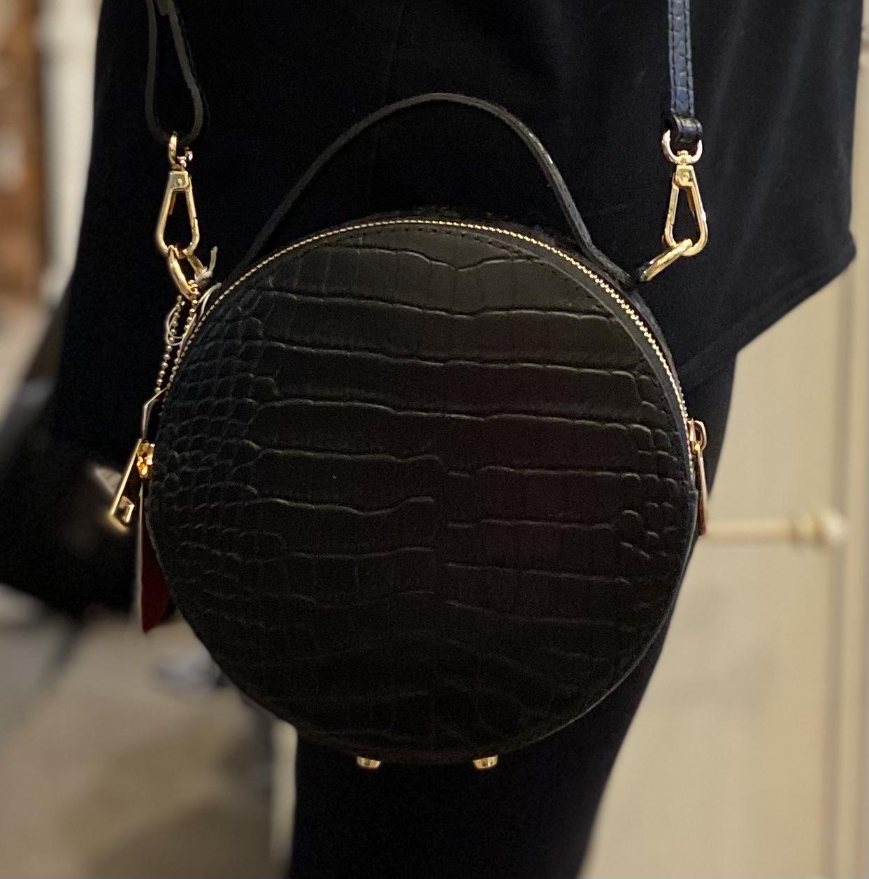 Bagitali Leather Croc Style Black Handbag