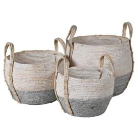 Coach House Grey & White Seagrass Baskets