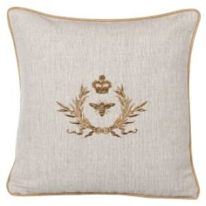 Coach House Gold Wreath and Bee Cushion