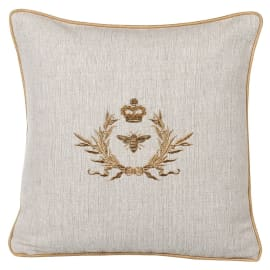 Coach House Gold Wreath and Bee Cushion
