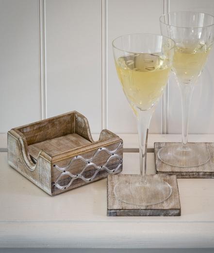 Retreat Lattice Design Wooden Coasters (Set of 4)