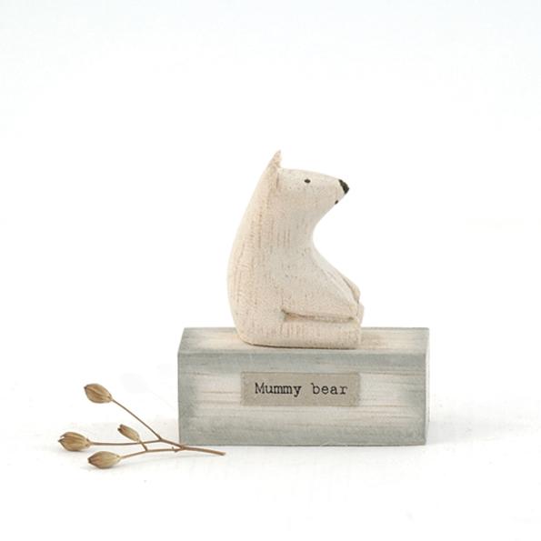 East of India Wooden Polar Bear Mummy Bear