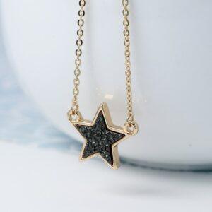 POM Black Glittery Star Necklace