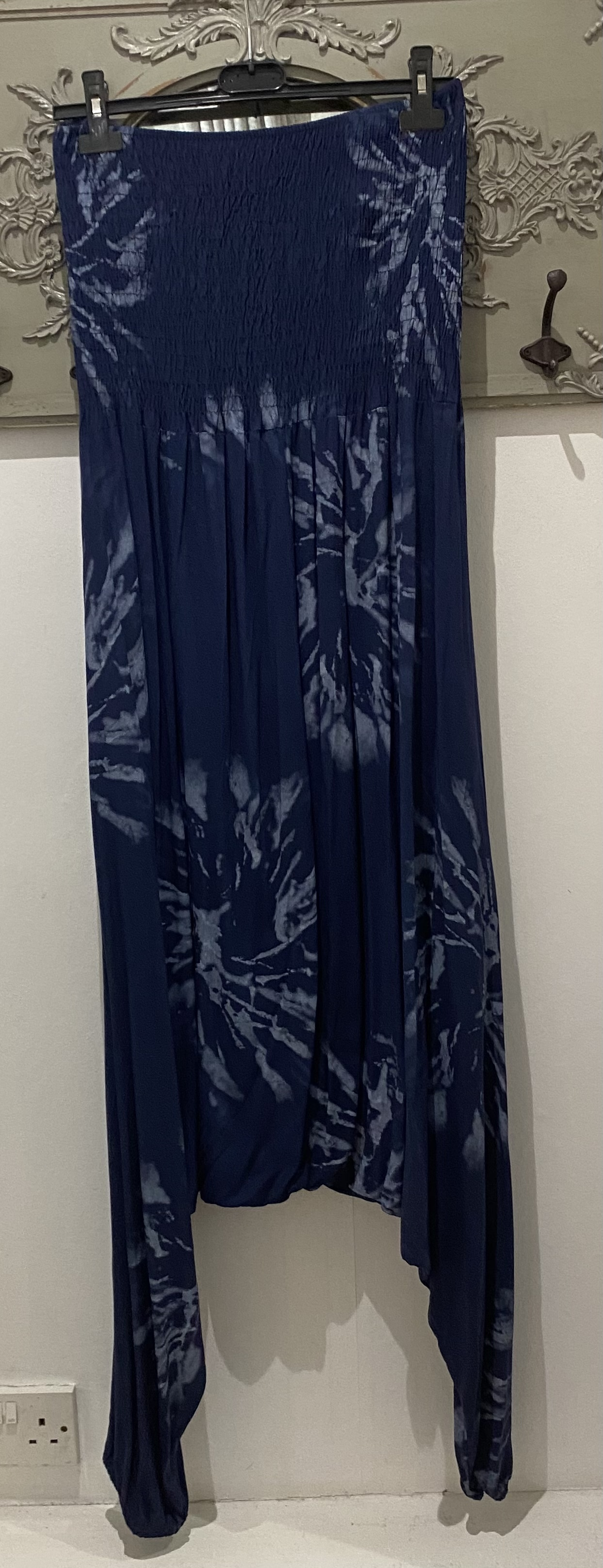 Blue Tie Dye Effect Shirred Boob Tube Jumpsuit