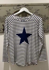 Chalk Tasha Navy Stripe Top with Navy Star