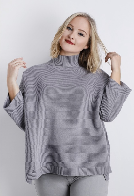 Chalk Vicki Ribbed Jumper Grey