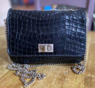 Moda Black Croc Print Leather Handbag