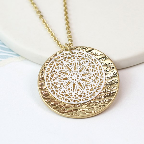 Gold plated disc and silver plated lace effect necklace